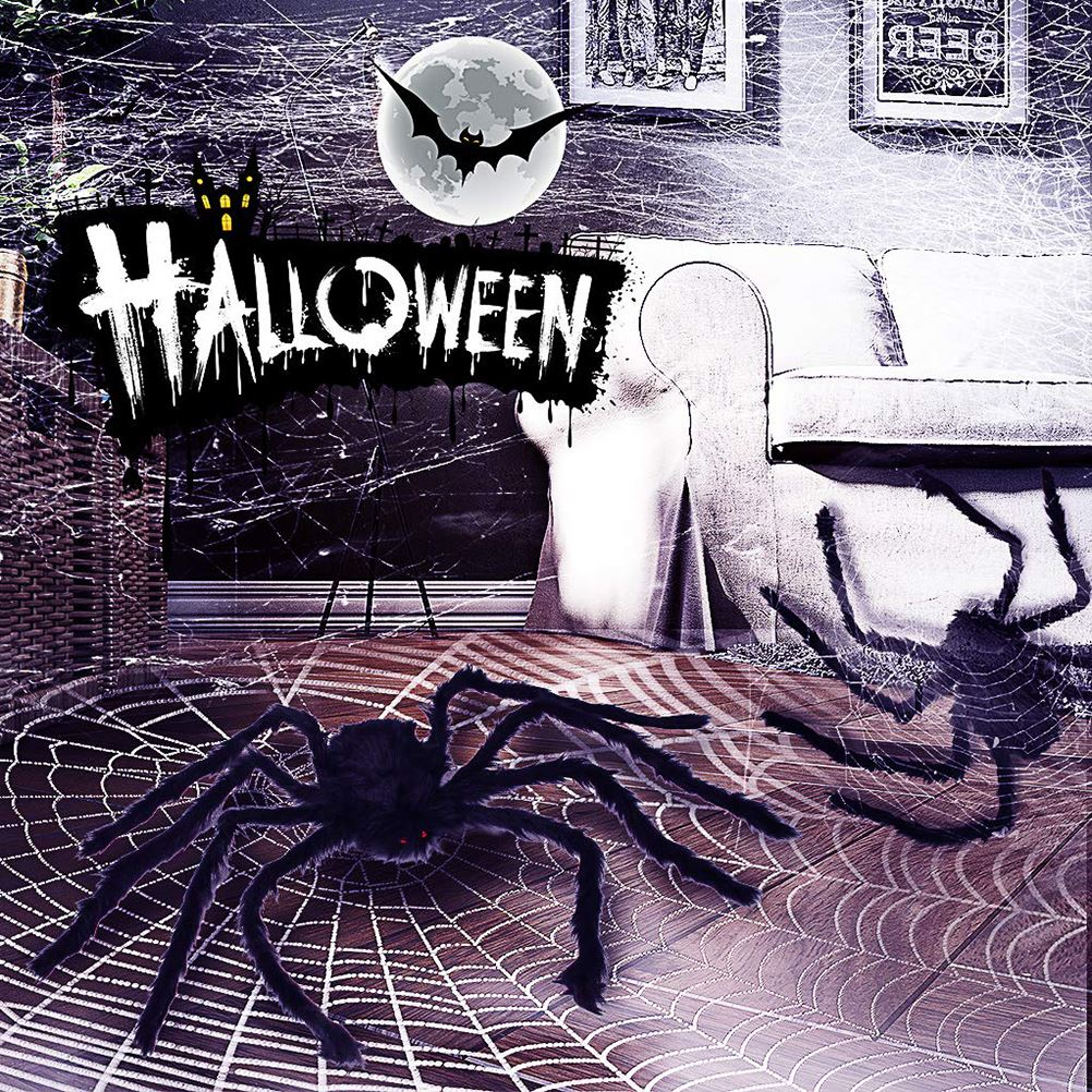 6.5ft Large Halloween Decorations Outdoor Spider Posable Furry Black Giant Scary Fuzzy Spiders Outside Indoor Yard Wed Decor Party Favor
