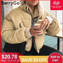 Berrygo Streetwear Jacket Coat Thick Parka Oversize Female Winter Warm Corduroy Casual