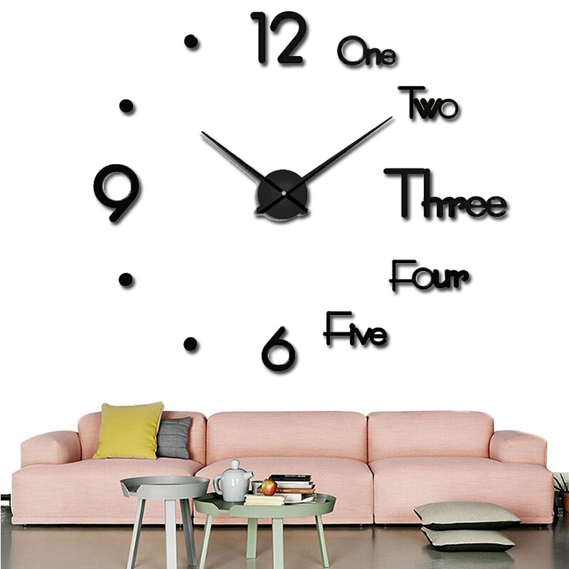 2019 large wall clock watch 3d wall clock decoration acrylic mirror stickers home decoration accessories quartz needle