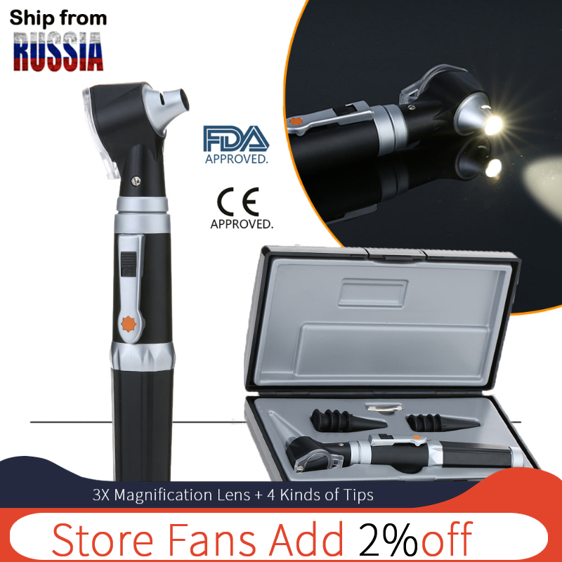 Medical-Otoscope-Set Ear-Care-Tool Diagnostic Otoscopio Xhl-Bulb Travel Physician  title=