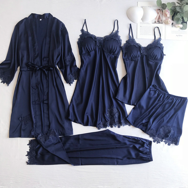 Gray 5PCS Nightgown Set Women Lace Nightwear V-Neck Pajamas Suit Homewear Spring Sleepwear Robe Gown Sleep Wear Pijama Negligee