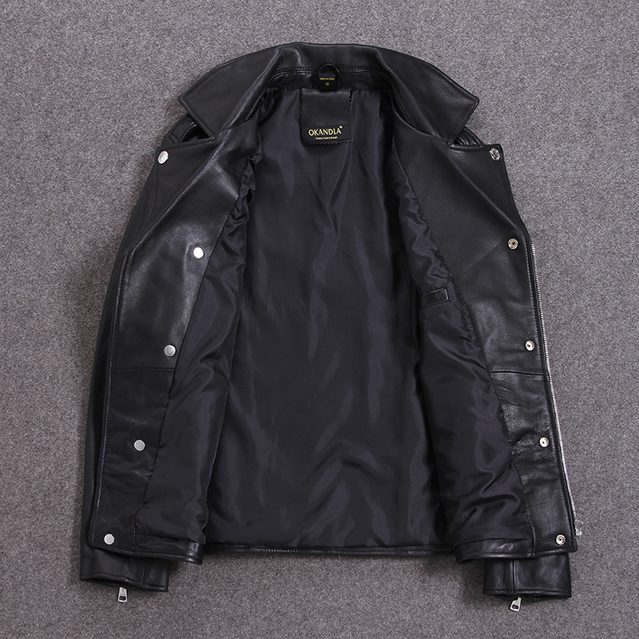 Free shipping.Brand new soft sheepskin motor coat.mens genuine leather jacket.slim biker's clothes.plus size quality jackets