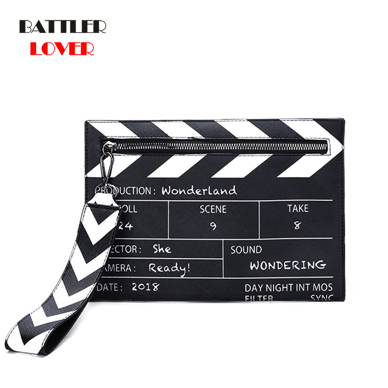 Black & White Fashion Movie Prop Design Pu Leather Casual Women