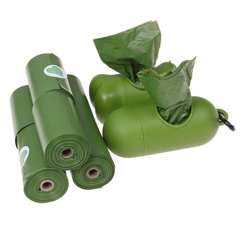 8 Rolls Pet Poop Bags Dispenser Waste Bag for Pet Leash Pet Degradable