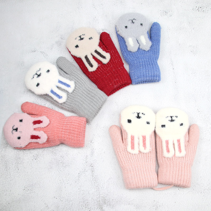 Cartoon Cat Gloves Thick Knitting Mittens for Boys Girls 0-3 Years Old New Hot