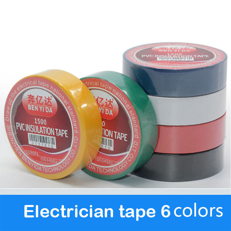 1 Roll PVC Electrical Wire Insulating Tape Roll  Black 6M Length 16mm Wide