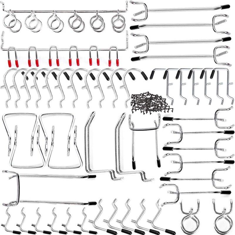 bancos de trabajo para organizar garajes tall herramienta de organizaci/ón de equipo de herramientas de juego de ganchos Juego de ganchos de acero,tablero de almacenamiento de ganchos de 80 piezas