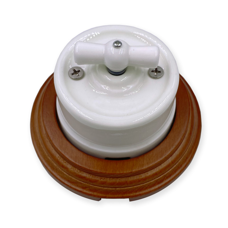 Home Improvement Retro Ceramic Rotary Switch Wall Lamp Knob Ceramic Switch 1-3 Gang Brown Wooden Base