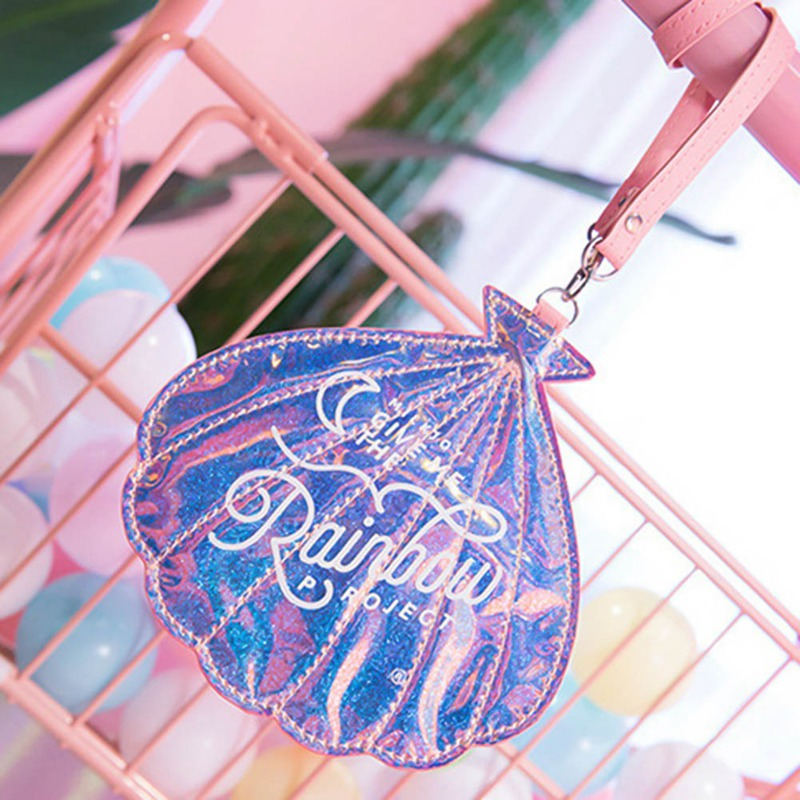 Shell Coin Purses Lovely Luggage Tag Wallet ins Laser Magic Girl Heart Shape Bag card holder Coin Purse