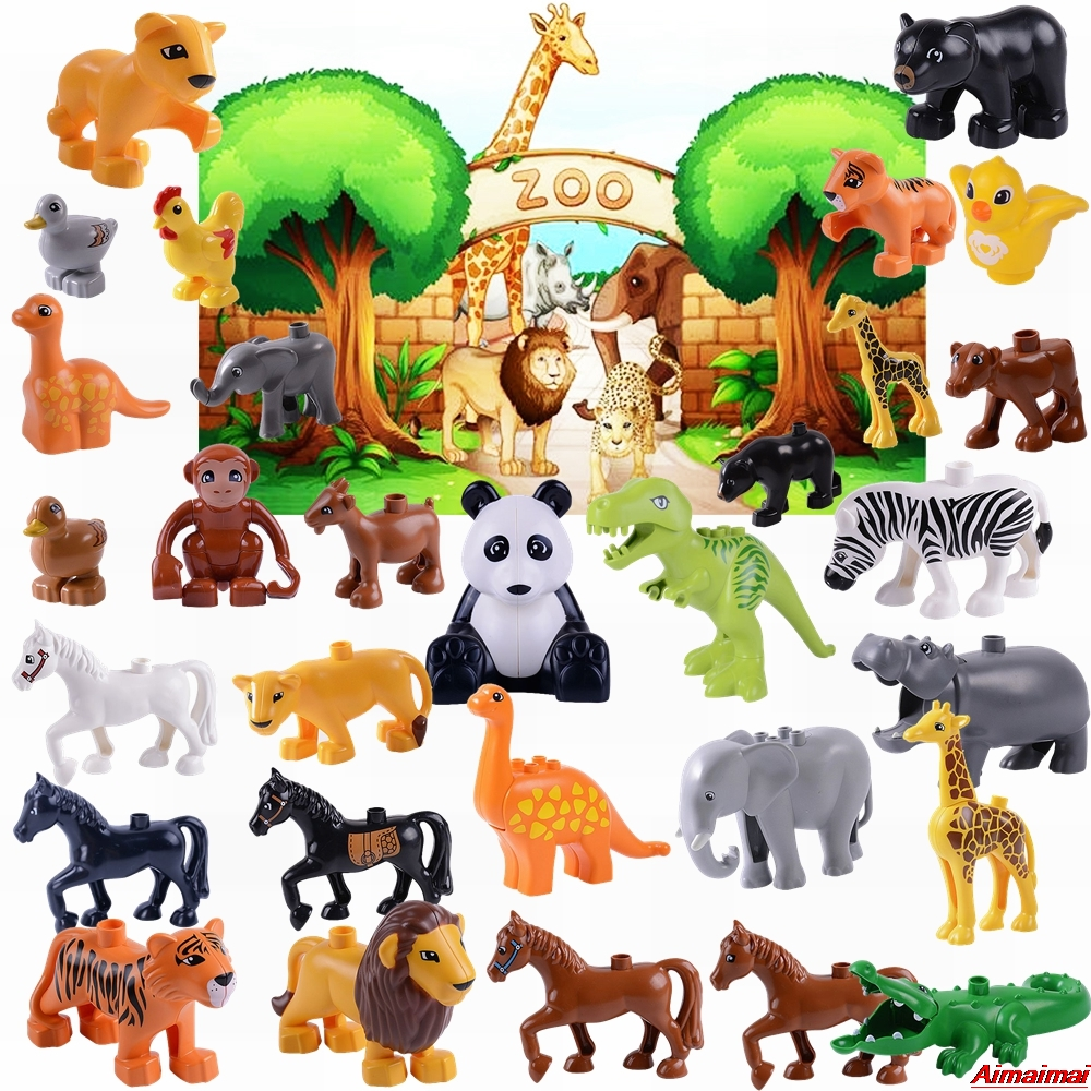 Legoing Elephant Animals Duplo Enlighten Bricks Horse Panda Dinosaur Toys Children Birthday Gifts Baby Infant Educational Blocks