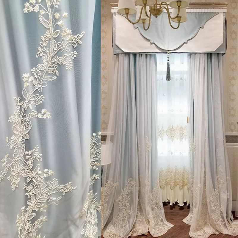 High-grade Luxury Window Curtains for Living Room European American Pure Color High Precision Curtain Romantic Embroidery Yarn
