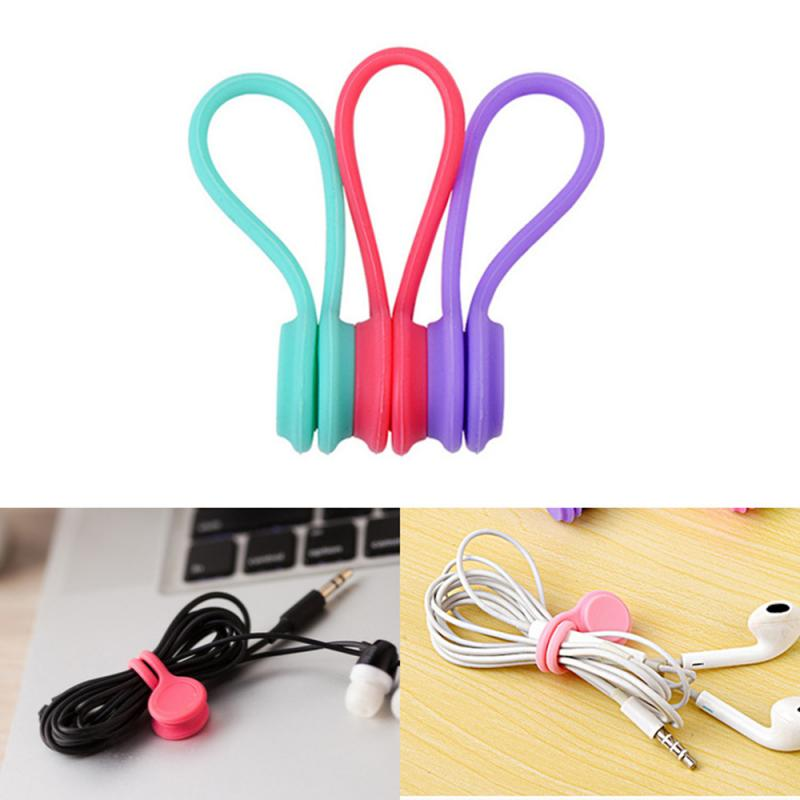 3PCS Silicone Magnetic Cable Winder Organizer Cord Earphone Storage Holder CN/_ch