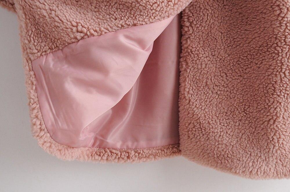 WT672 wzór europejski damski z długim rękawem karbowany kołnierz różowy kolor Faux futro płaszcz polarowy jesień ciepła odzież zimowa -