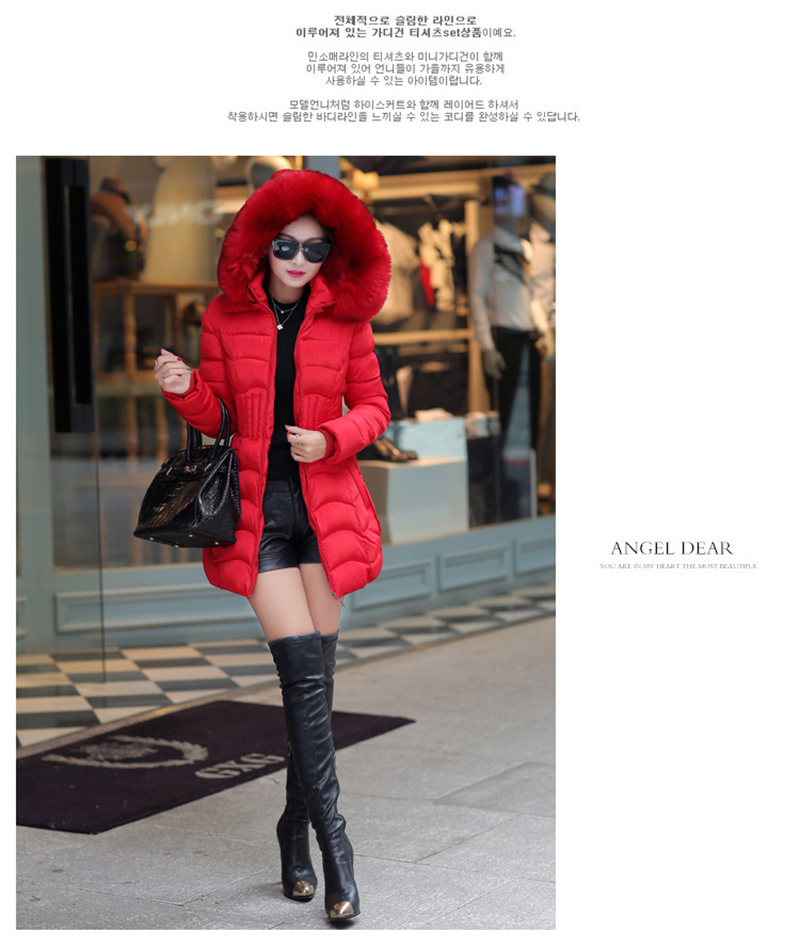 Winter Long Women Coats Parkas Slim Pleated Black Female Coat Outwear Fashion Disassembled Hooded Cotton Women Jackets MLD1271 8