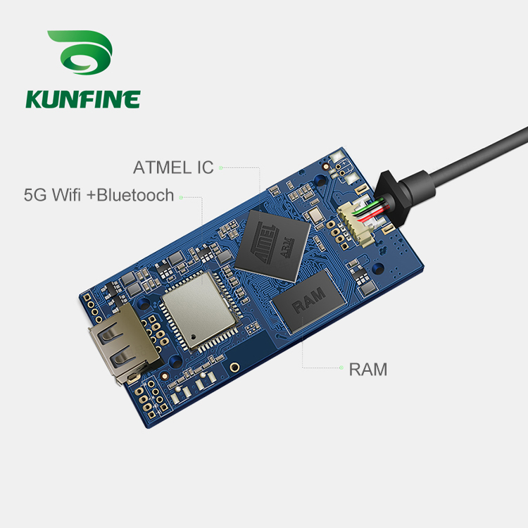 KUNFINE Wireless Wire Apple CarPlay Dongle for Android Car stereo Unit USB Carplay Stick with Android AUTO (5)