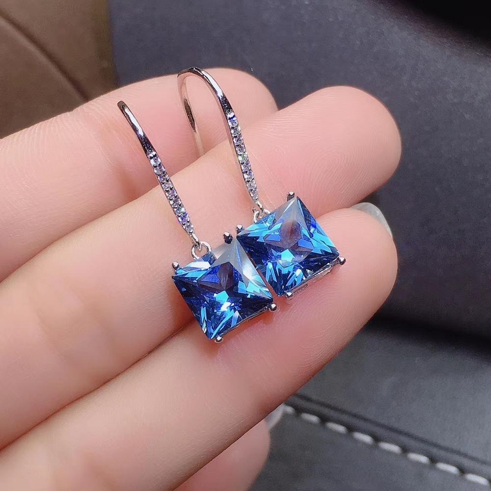 attractive blue topaz dangling earrings for women jewelry fine ornament hook earring natural gem girl party gift real 925 silver