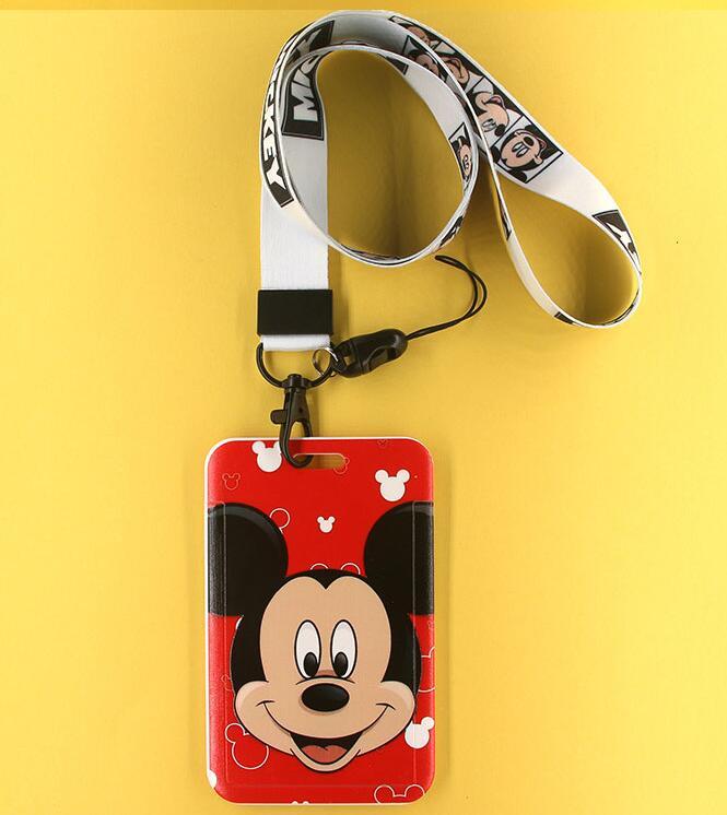 New 1 pcs cartoon mickey minnie card Lanyard Key Lanyard Cosplay Badge ID Cards Holders Neck Straps Keyring