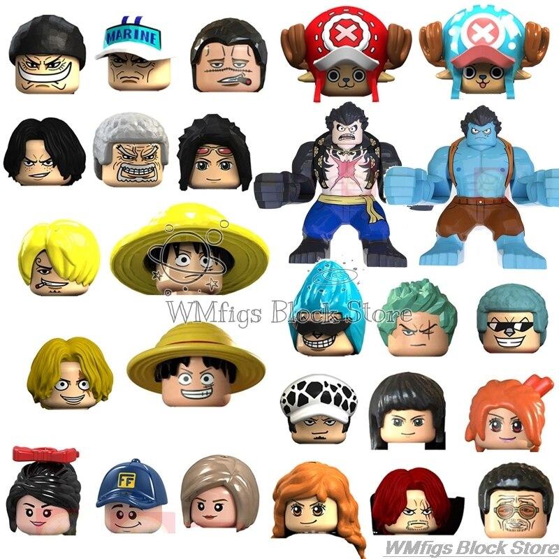 One Piece Animation Sunny Meili Robin Luffy Cartoon Character Series Chopper Brook Figures Head Fitting Building Block Toys Kid