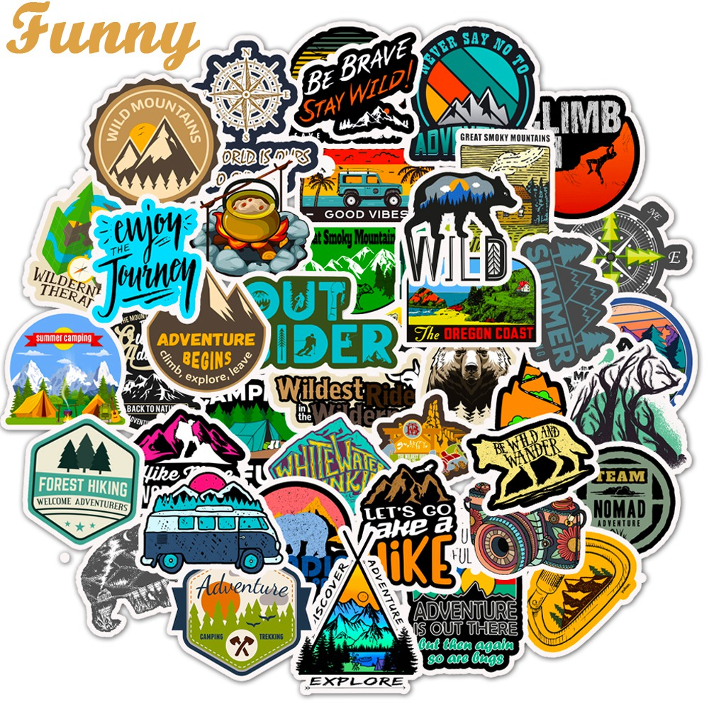 50 PCS Camping Landscape Stickers Outdoor Travel Adventure Climbing Waterproof Sticker to DIY Suitcase Laptop Bicycle Helmet Car