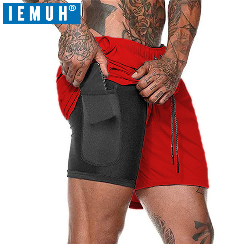 IEMUH Fitness Shorts Training Gym Men Jogging Sport Quick-Dry Mens Summer 2-In-1 title=