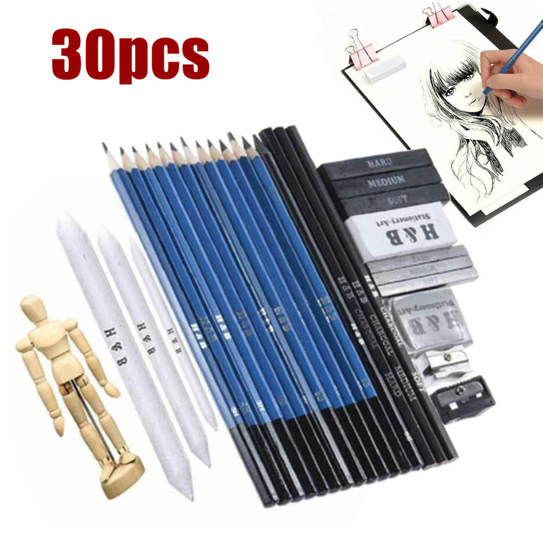 32Pcs Professional Artist Pencils Set Drawing Sketching Art Kit For Adult Kids