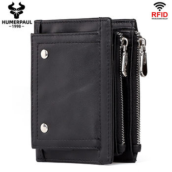 HUMERPAUL Genuine Leather Wallet Men RFID Short Card Holder Wallets For Man Hasp Coin Purse Mini Clutch Bag Portfel Damski