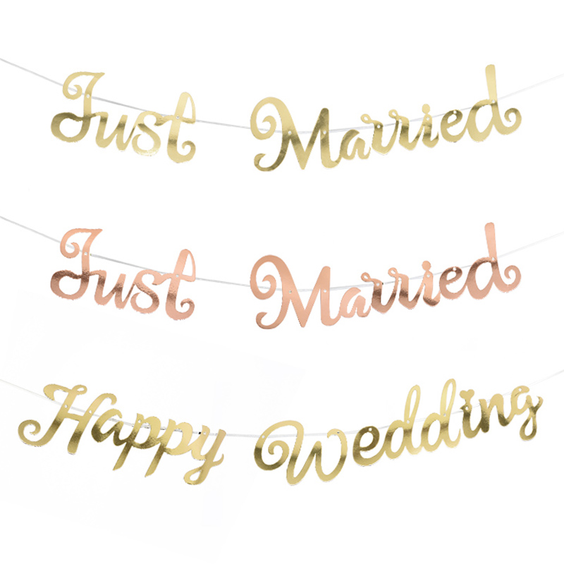 Gold Silver Happy Birthday Banner Bunting Just Married Hanging Garland Wedding Party Decor Banner Home Party Decoration