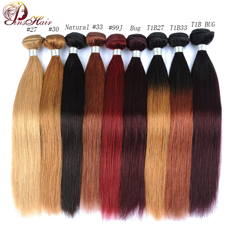 Pinshair Red Bundles Weave Blonde 99J Burgundy Straight Ombre 100 1pcs Non-Remy title=