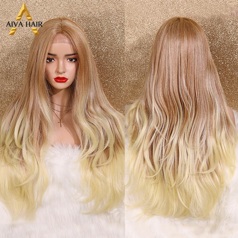 Aiva Hair High Temperature Synthetic Hair Wig Long Natural Wave Lace Front Wigs For Women Glueless Blonde Ombre Cosplay Wig