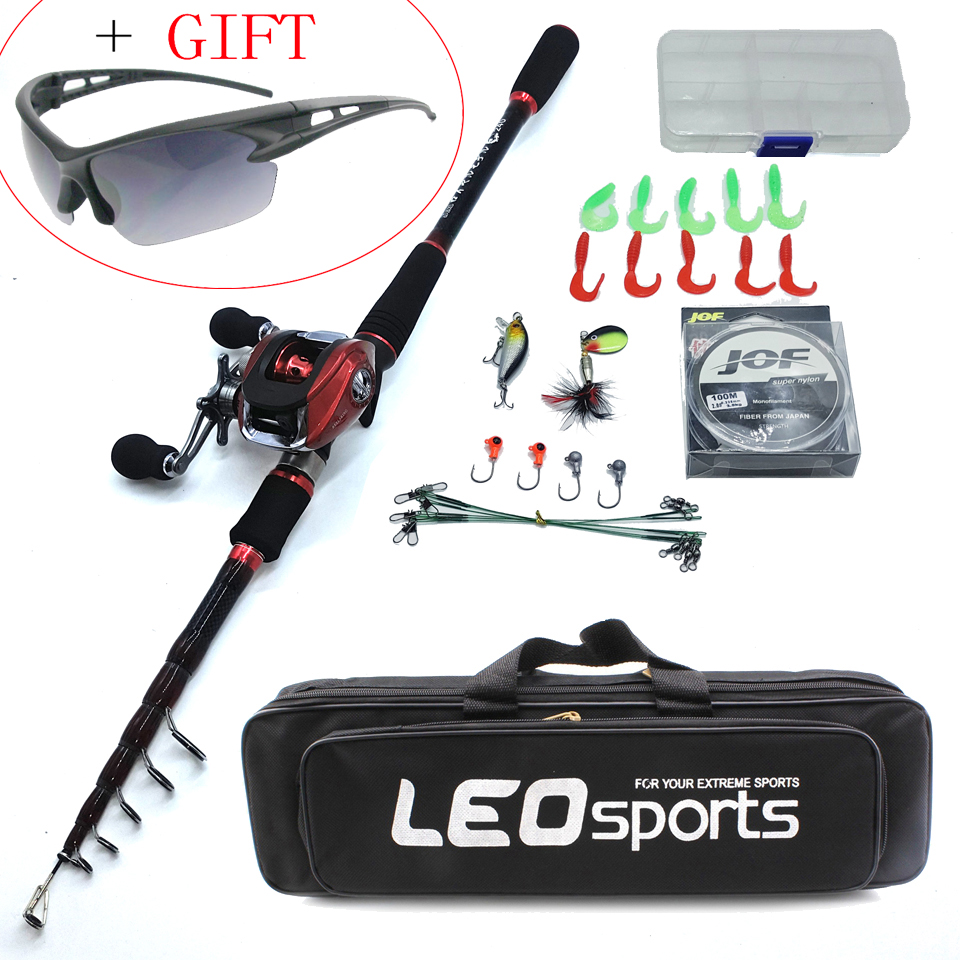 2019 NEW 1.8-2.7m fishing rod combo with casting reel bait lure box line bag portable travel rod boat rock pole fishing tackle title=