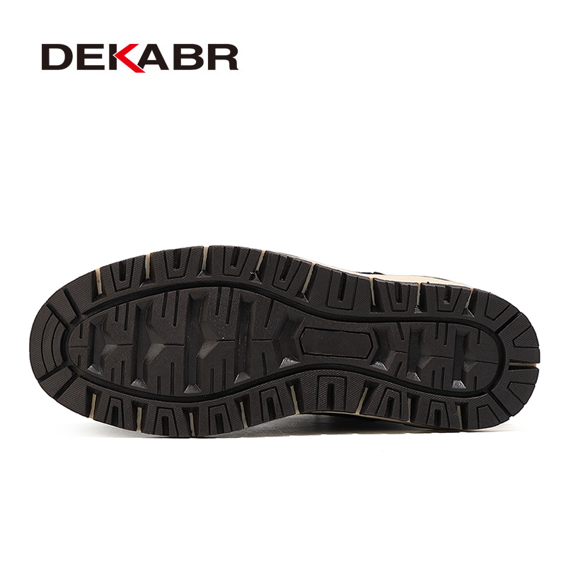 DEKABR Winter Genuine Leather Men's Boots Thick Fur Warm Ankle Boots Working Men Footwear Waterproof Snow Boots Plus Size 40~47