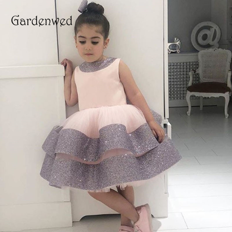 Puffy Layers Ball Gown Girl Party Dress Glitter Tiered Girl Pageant Dresses Girls First Communion Dresses Shiny Birthday 2021