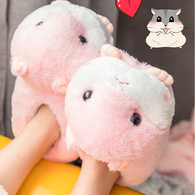 Cute Home Women Winter Slippers Cartoon Hamster Design Gray Pink Brown Ladies Shoes One Size Warm Fur Women Slippers