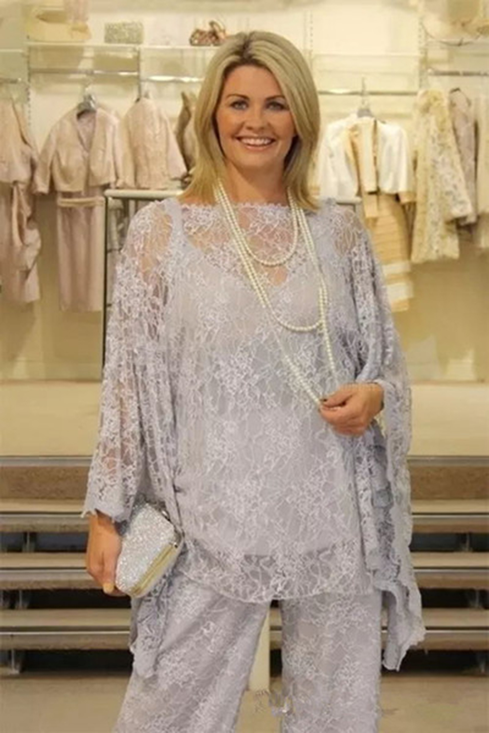 Bride-Pant-Suits Guest-Dresses Gray Wedding Plus-Size Lace Long-Sleeves Three-Pieces title=