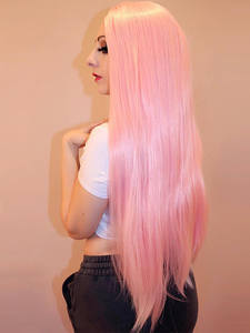 Vigorous Wig Hair Lace Heat-Resistant Glueless Pink Straight Synthetic 13x4 Women Long