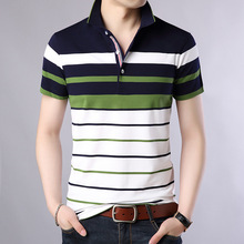 Polo-Shirt Short-Sleeve Striped Plus-Size Summer Classic Cotton M-XXXXL Men New-Arrived