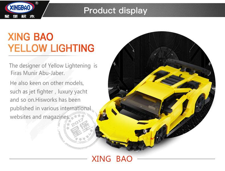 XINGBAO XB-03008 Yellow Lightning Lamborghining Building Block 29
