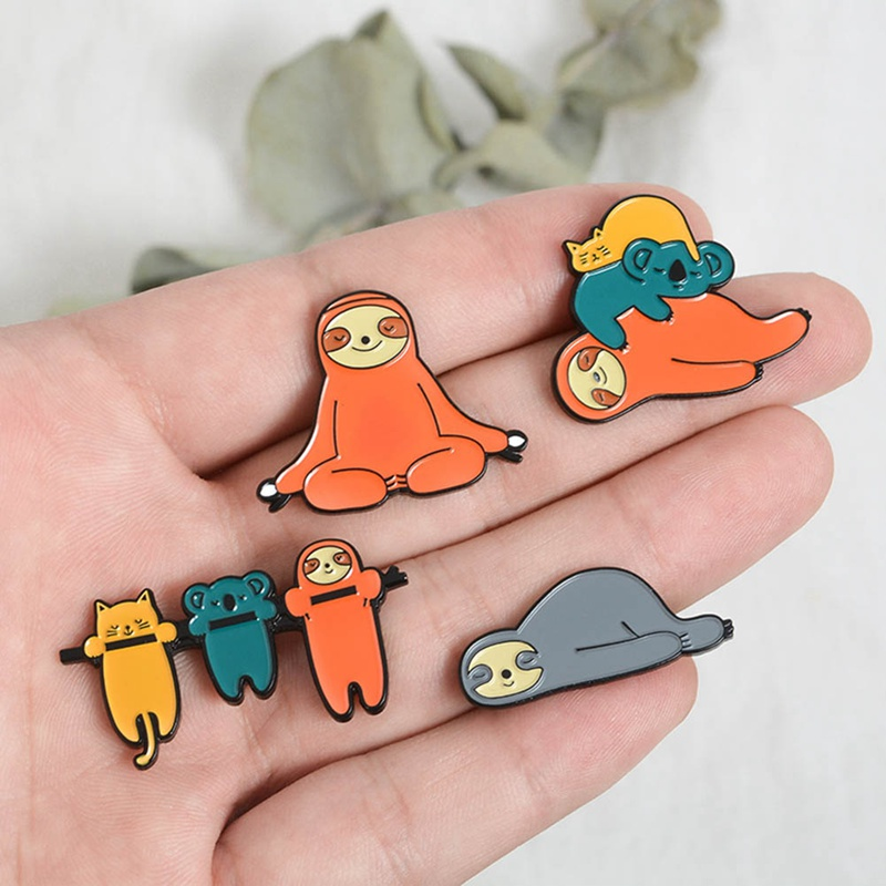 Animal sloth series Badges Brooches cute nickname Flash Denim Enamel lapel pins Gifts for fans friends Jewelry wholesale