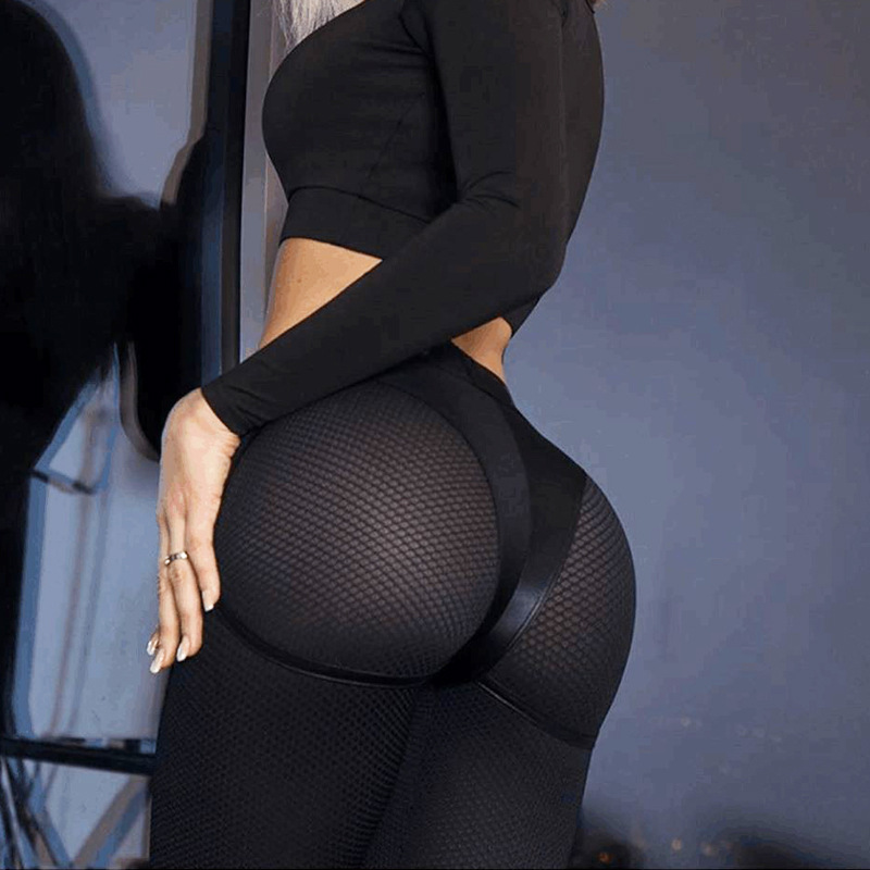 Breathable Leggings Mesh Patchwork Sexy High-Waist Women Mujer Black Female title=