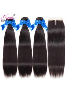 Hair-Bundles Closure Remy-Hair Women 100%Human-Hair Straight with Brazilian for Black
