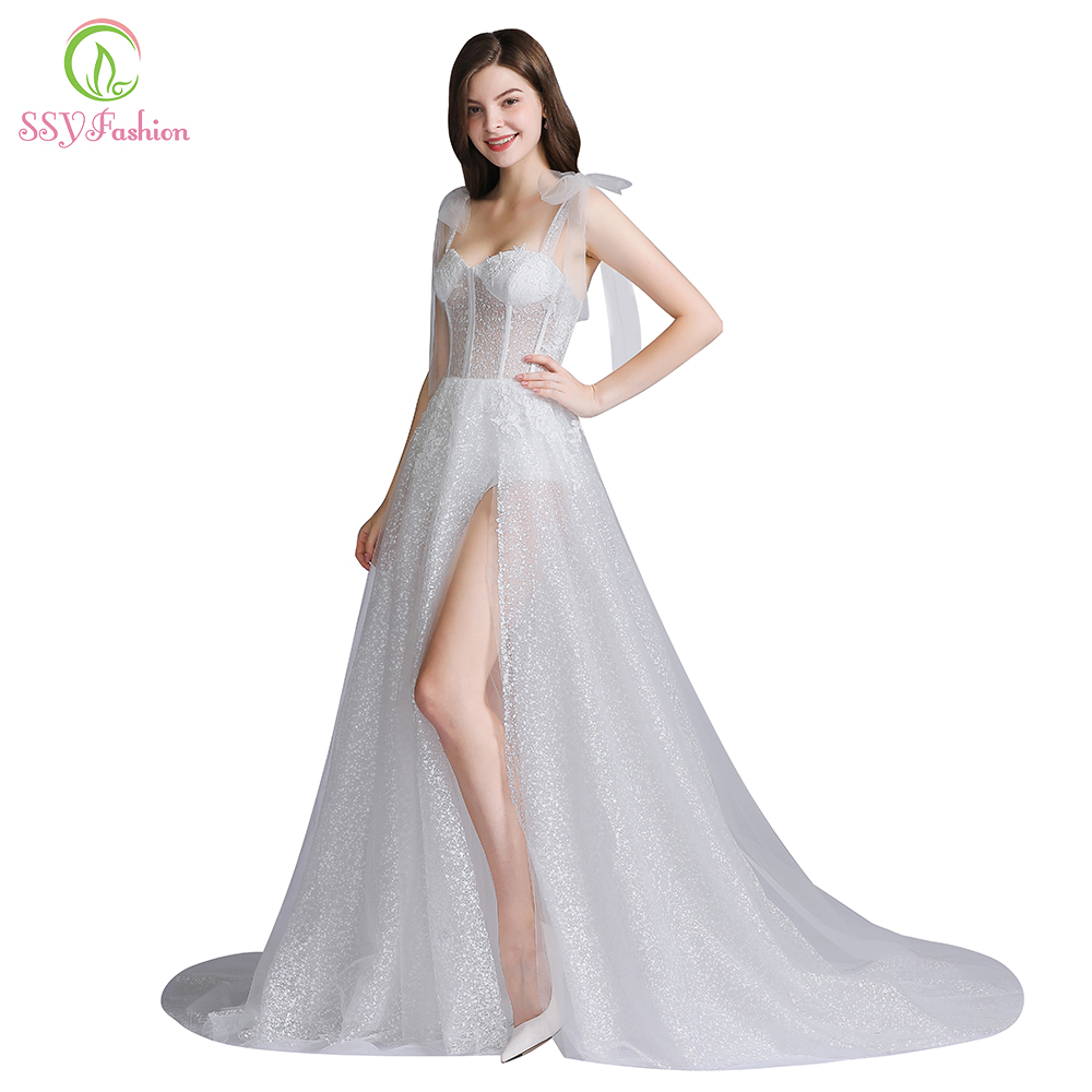 SSYFashion New Evening Dress Sexy White V-neck Sleeveless Tulle High-split Beach Backless Prom Formal Gown Custom Robe De Soiree