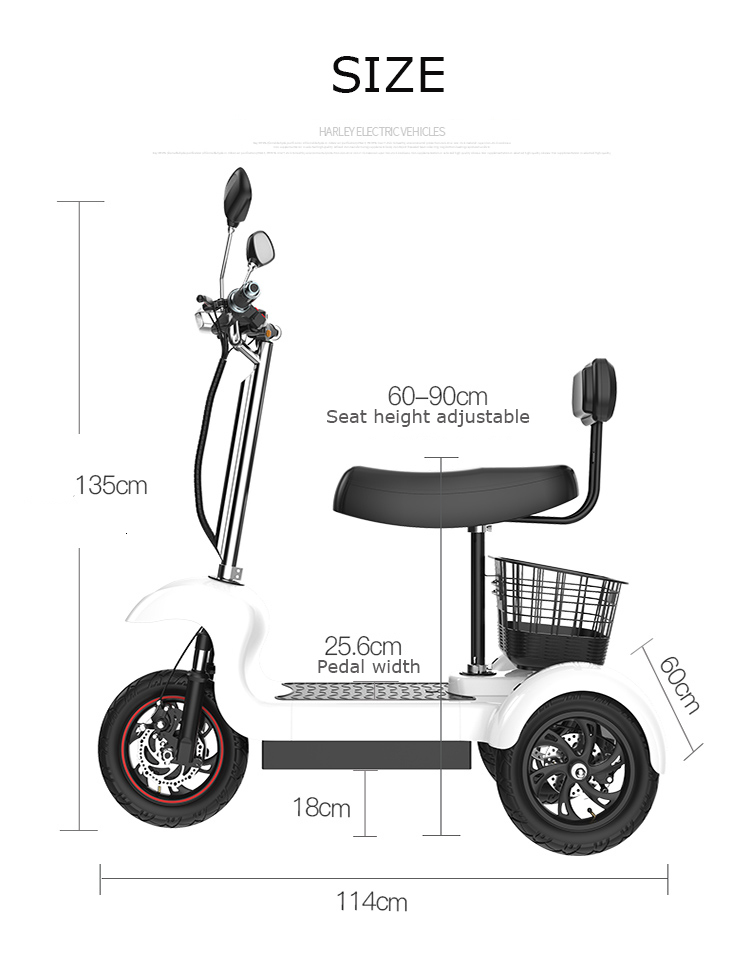Daibot Electric Tricycle Bike 3 Wheels Electric Scooters Single Motor 500W 48V WhiteBlack Electric Scooter With Seat Adults  (3)