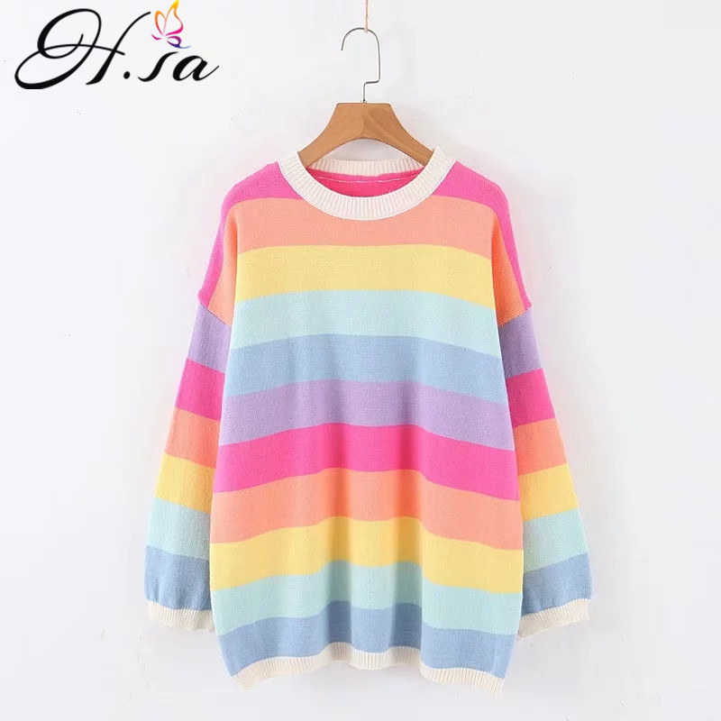 H.SA 2019 Winter Sweater and Pullover for Women Colorful O Neck Oversized Sweaters Rainbow Pull Jumpers kawaii casaco feminino
