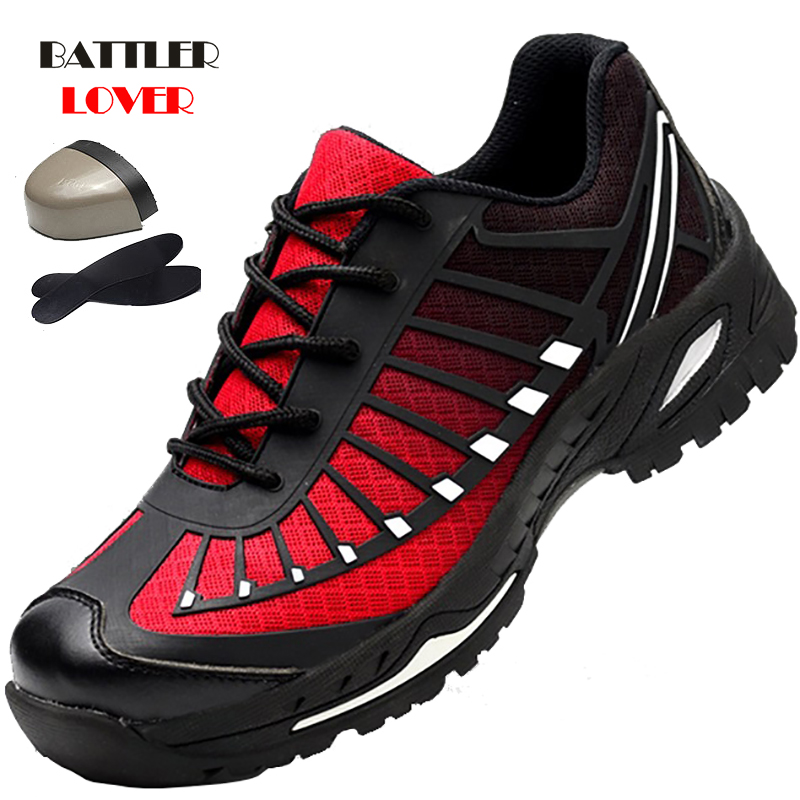 Men Steel Nose Safety Work Shoes grid Lightweight Breathable Reflective Casual Sneaker Prevent piercing Protective boots Unisex