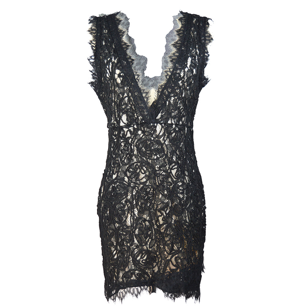 V Neck Sleeveless Lace Cocktail Dresses White Black Sexy Hot Lace Cocktail Party Dress Gown Cheap Price Ready Ship