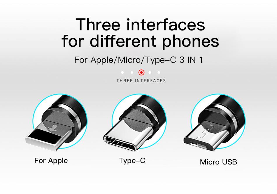ACCEZZ 3合1磁性电缆,带整理盒,适用于iPhone XS XR 11 Pro Max Micro Micro USB Type C磁铁充电器电缆(6)