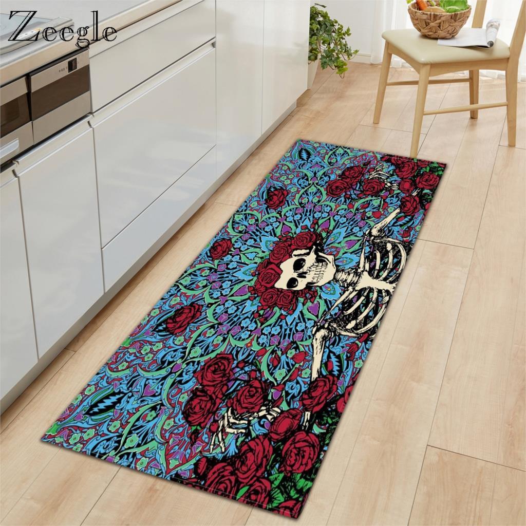 Zeegle Carpet Anti-slip Kitchen Rug Bathroom Doormat Shower Mat Absorbent Living Room Floor Rug Hallway Carpet Bedside Foot Rug