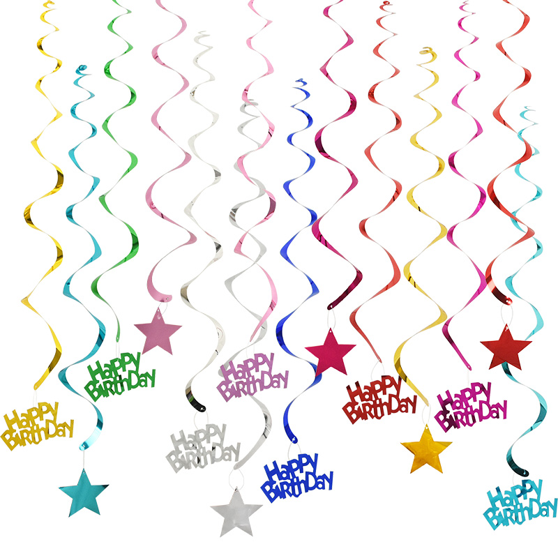 6pcs Happy Birthday Star Spiral Pendant Ceiling Hanging Garland PVC Swirl Banner for Birthday Party Home Living Room Decoration
