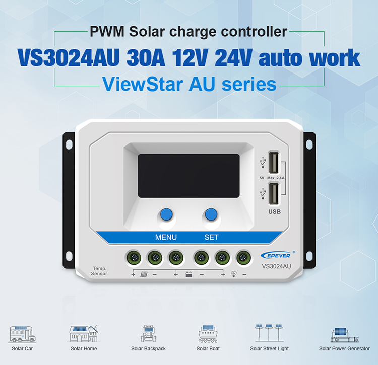 EPever 12V 24V Auto Backlight LCD Solar Regulator Controller 30A Solar Charger with Dual USB Output VS3024AU