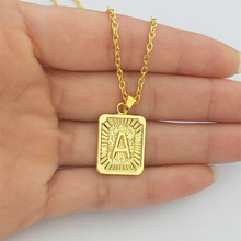 Necklace Initial Pendant Medallion-Collar 26-Letter Rectangle Gold Alphabet Z Q C-D-E-F